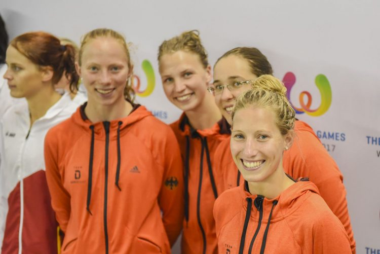 Bronzemedaillengewinner bei den 10. World Games: Puppenstaffel (v.l.): Annalena Geyer, Sophia Bauer, Kerstin Lange, Jessica Luster   Bildquelle: DLRG OG Eisenach, Denis Foemer