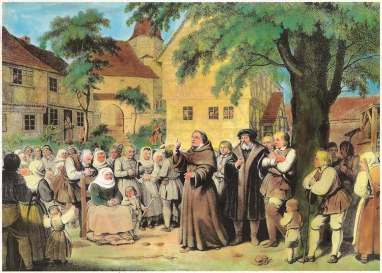 """C. A. Schwerdgeburth (1785-1878): """"Dr. Martin Luther im Dorfe Möhra""""   Bildquelle: © C. A. Schwerdgeburth / Ev.-Luth. Kirchengemeinde Möhra"""