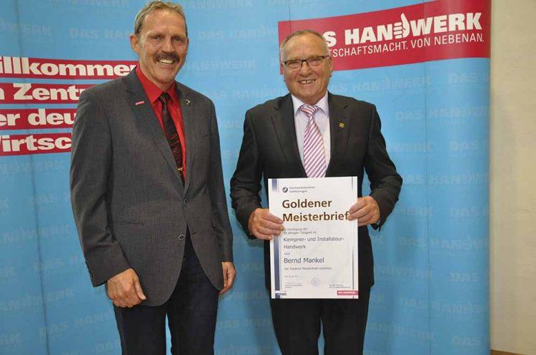 v. l. Herr Präsident Manfred Scharfenberger, Herr Bernd Mankel | Bildquelle: © Handwerkskammer Südthüringen