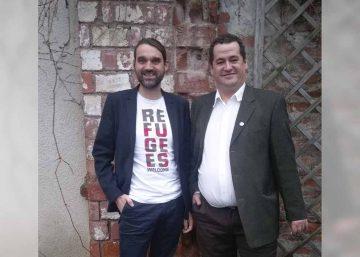 Vereinsvorsitzender Sven Schlossarek und Vorstandmitglied Dirk Dietzel vor der Preisverleihung. | Bildquelle: © Rock am Berg Merkers e.V.