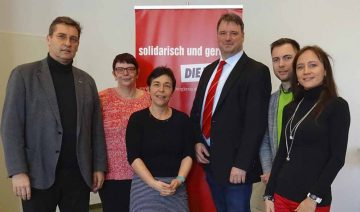 von links nach rechts: Ralph Klinzing, Anke Hofmann-Domke, Anja Müller, Stefan Fricke, Maik Klotzbach, Anke Wirsing. | Bildquelle: © Büro MdL Anja Müller/ DIE LINKE