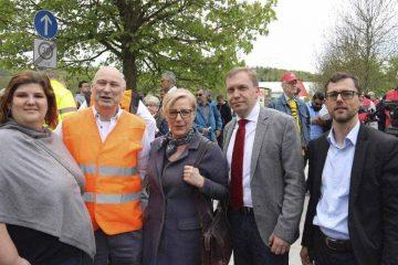 von links nach rechts: Heidrun Sachse (SPD Vorsitzende Eisenach), Reinhard Schäfer (Opel), Matthias Hey und Eleonore Mühlbauer (beide SPD Landtagsfraktion), Michael Klostermann (Fraktionsvorsitzende) | Bildquelle: © SPD Fraktion im Thüringer Landtag