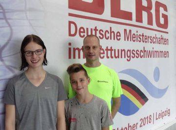Die Eisenacher Einzelstarter: Lena Oppermann, Leandro Klein und Steffen Schulze (Trainer) (von links)   Bildquelle: © Steffen Schulze/ DLRG Eisenach
