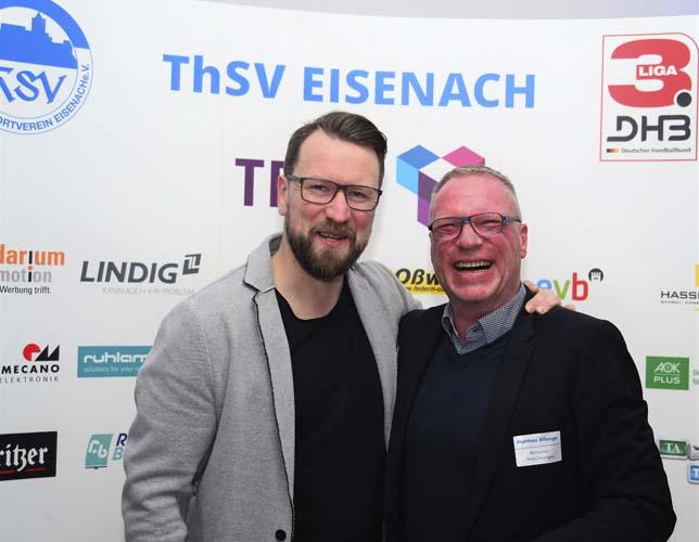 Beim Neujahresempfang: die ehemaligen Spieler Stephan Just (li.)und Matthias Allonge   Bildquelle: © Frank Arnold • sportfotoseisenach / ThSV Eisenach