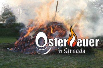 Großes Osterfeuer in Stregda
