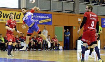 Bildquelle: © Frank Arnold • sportfotoseisenach / ThSV Eisenach Die Knieprobleme bei Alexander Saul, hier am Ball im jüngsten Heimspiel gegen die SG BBM Bietrigheim, sind abgeklungen.
